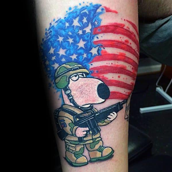 Brian The Dog With American Flag Family Guy Tattoos For Gentlemen