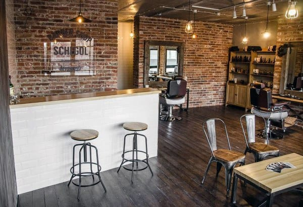 Brick And Hardwood Flooring Barber Shop Designs