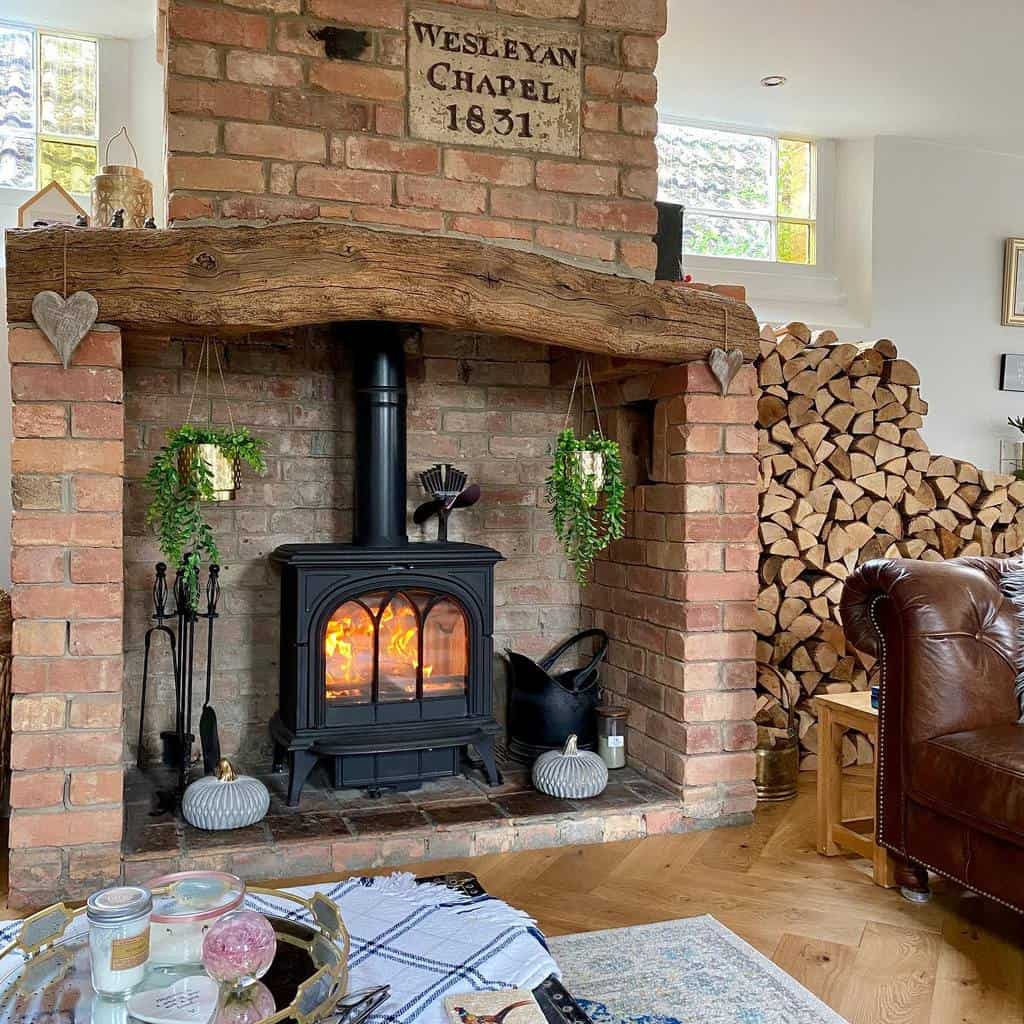 brick fireplace wall ideas ourlittlechapel