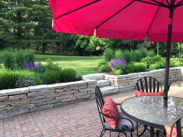 Brick Patio Ideas Inspiration With Natural Stone Retaining Wall