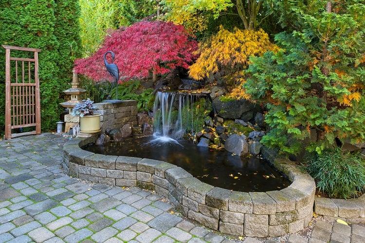 Brick Paver Stone Hardscape Backyard Waterfall