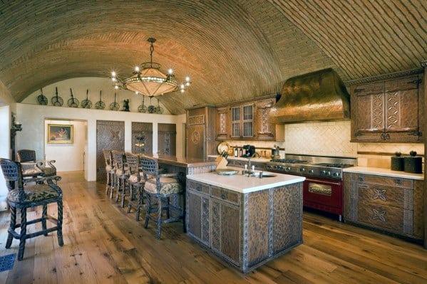Brick Rustic Kitchen Ceiling Design Ideas