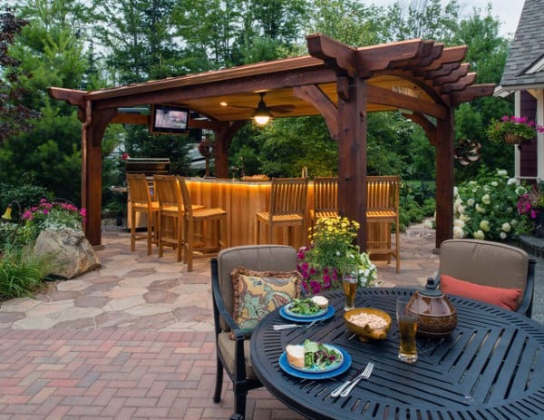 Brick Stone Patio Pergola Ideas