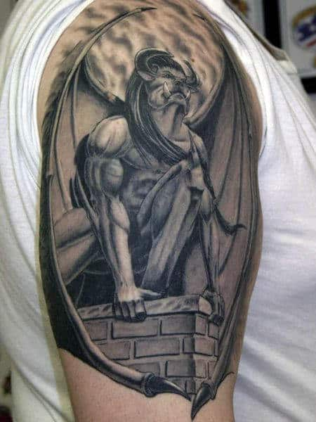 Brick Stone Roof Gargoyle Mens Half Sleeve Tattoo
