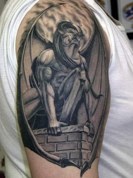 Brick Stone Roof Gargoyle Mens Half Sleeve Tattoo