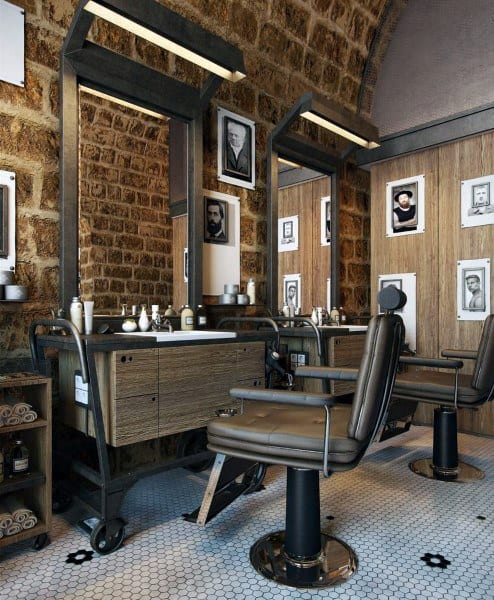 Brick Wall Barber Shop Designs