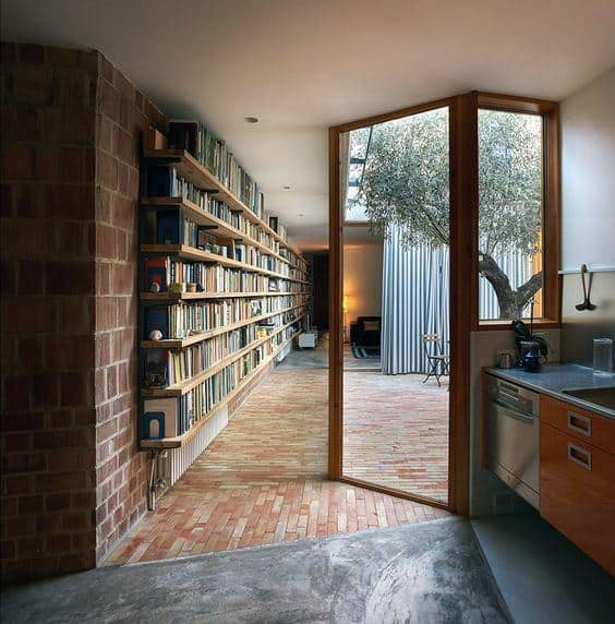 Brick Wall Floor To Ceiling Bookshelves Interior Ideas