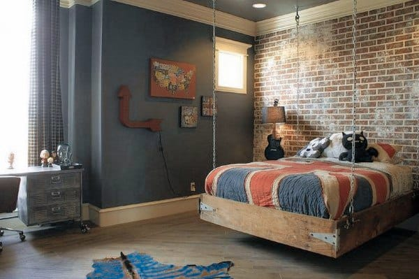 Brick Wall Teen Bedroom Hanging Bed Ideas