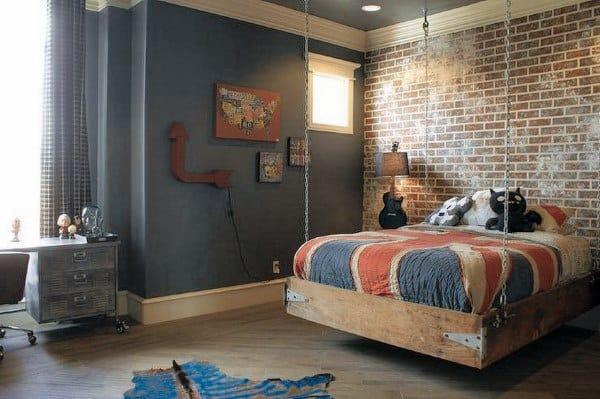 Brick Wall Teen Bedroom Hanging Bed Ideas