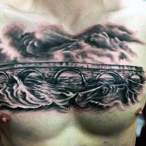 Bridge Over Water With Clouds Guys Black And Grey Chest Tattoo