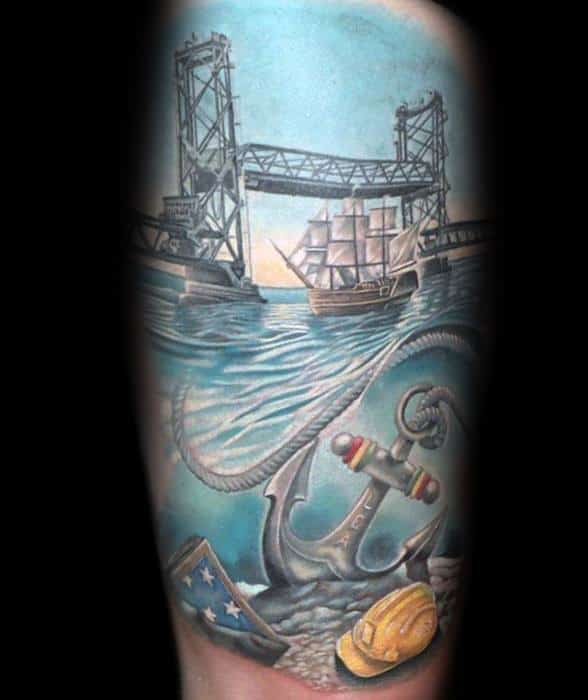 Bridge With Anchor Guys Unique Thigh Tattoo Designs