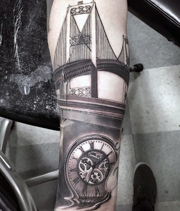 Bridge With Pocket Watch Mens Forearm Tattoos