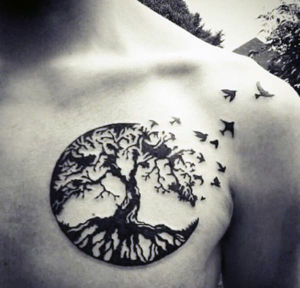 Brids Flying From Oak Tree Circular Tattoo On Chest For Males