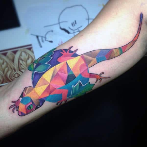 Bright And Colorful Lizard Tattoo On Arms Males