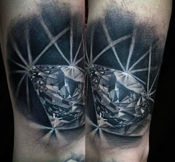 Bright Black Ink Diamond Tattoo For Men With Realistic Design