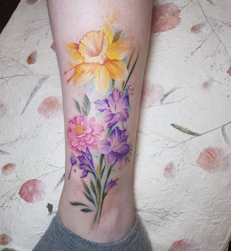 Bright Bunch Of Watercolor Flowers Andkle Tattoo Daffodils