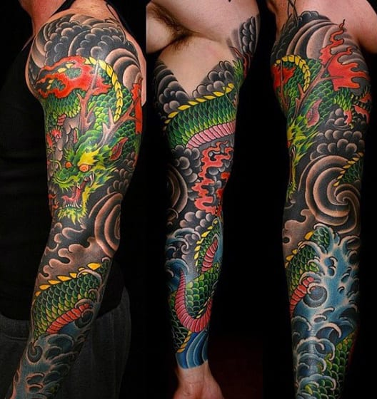 Bright Chinese Dragon Tattoo Male Sleeves