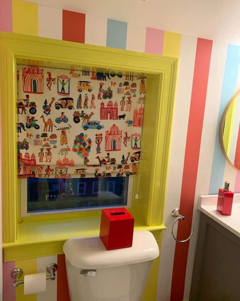 Bright Color Bathroom Wallpaper Ideas Francescamillsstylist