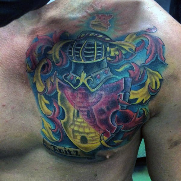 Bright Color Family Crest Tattoo For Men On Right Chest