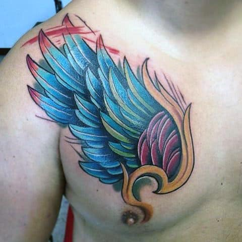 Bright Colored Angel Wing Tattoos For Guys On Upper Left Chest