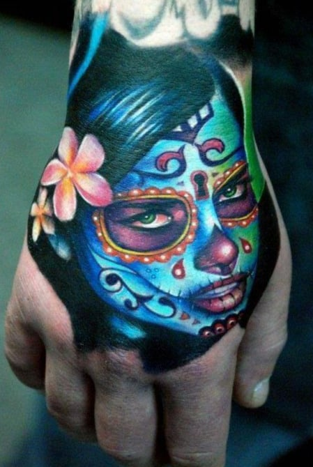 Bright Colored Green Eyed Lady Day Of The Night Tattoo Mens Hands