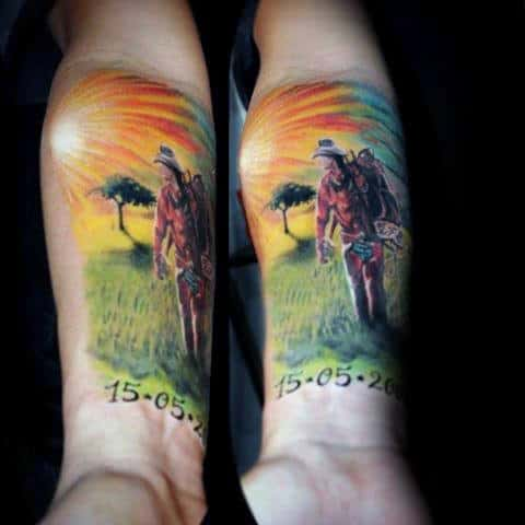 Bright Colorful Memorial Cowboy Tattoo Sunrise On Mans Inner Forearm