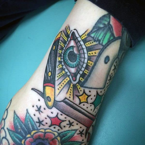 Bright Green Eye And Straight Razor Tattoo Male Forearms