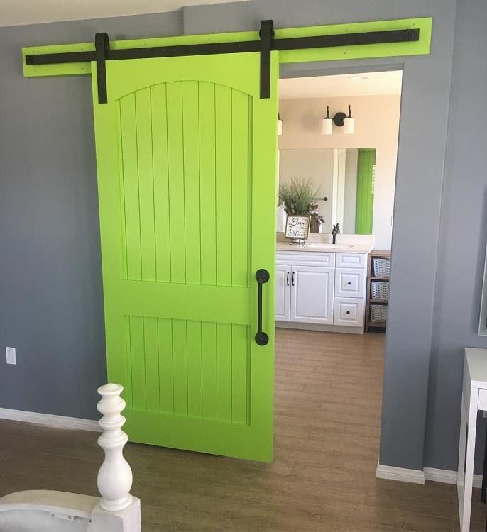 Bright Green Painted Barn Doors