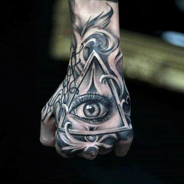 Bright Grey Eyes Illuminati Tattoo Male Hands