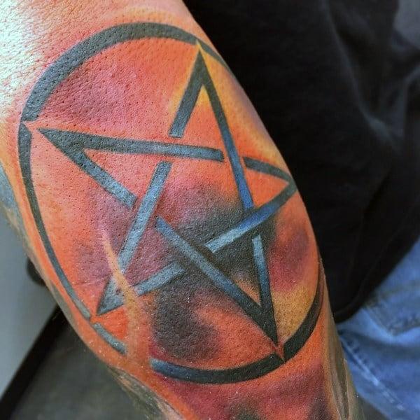 Bright Orange Backdrop Pentagram Tattoo Male Arms