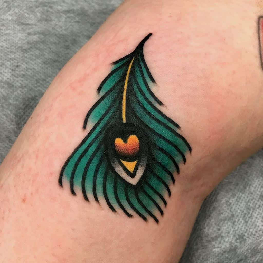 Bright Peacock Feather Tattoo