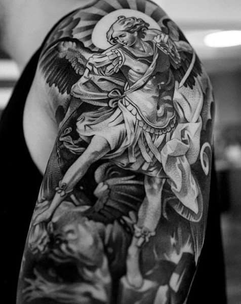 Brilliant Black Guardian Angel Tattoo Males Back