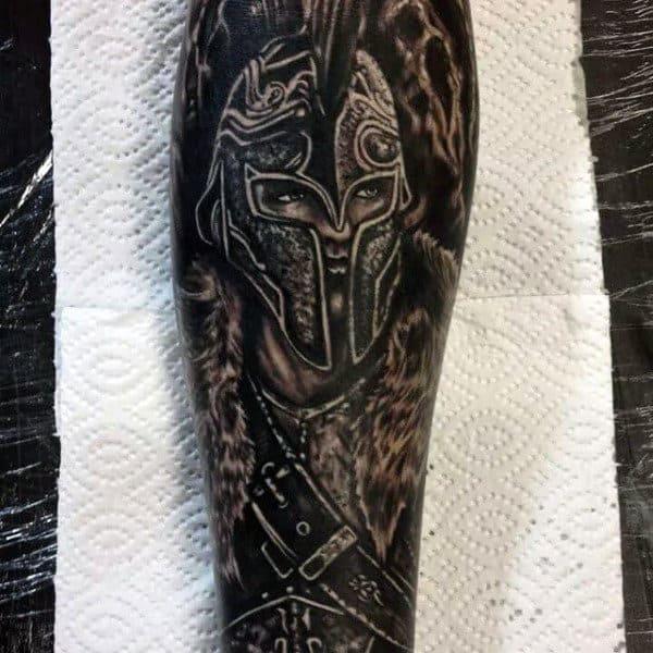 Brilliant Black Warrior Tattoo Mens Forearms