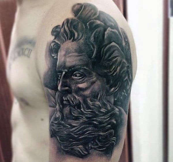 Brilliant Dark Greek God Tattoo On Upper Arm For Men