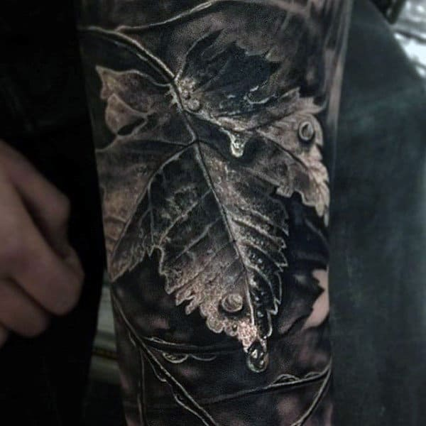 Brilliant Grey Colored Leaf And Dew Drop Realism Tattoo Mens Sleeve