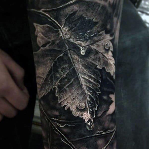 Brilliant Grey Colored Leaf And Dew Drop Realism Tattoo Mens Sleeve