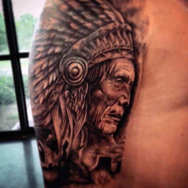 Brilliant Native American Man Tattoo Mens Arms