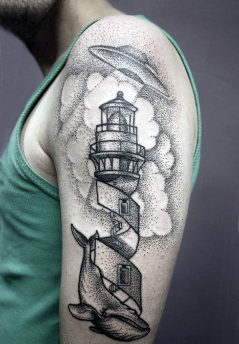 Brilliant Pencil Dot Work Tattoo Of Ufo Over Tall Tower Male Arms