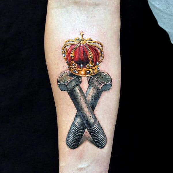 Brilliant Red Crown And Grey Bolts Tattoo On Forearms For Guys