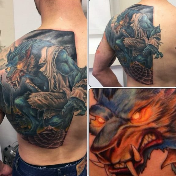 Brilliant Red Eyed Werewolf Tattoo Male Fullback