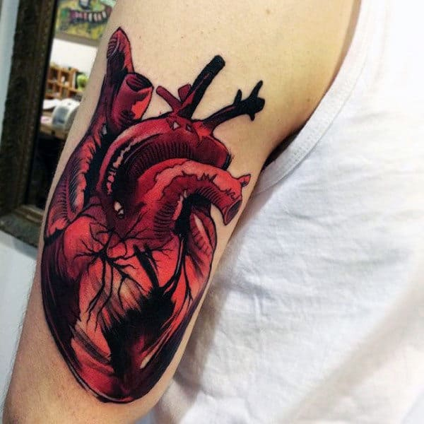 Brilliant Red Heart Tattoo On Arms For Males