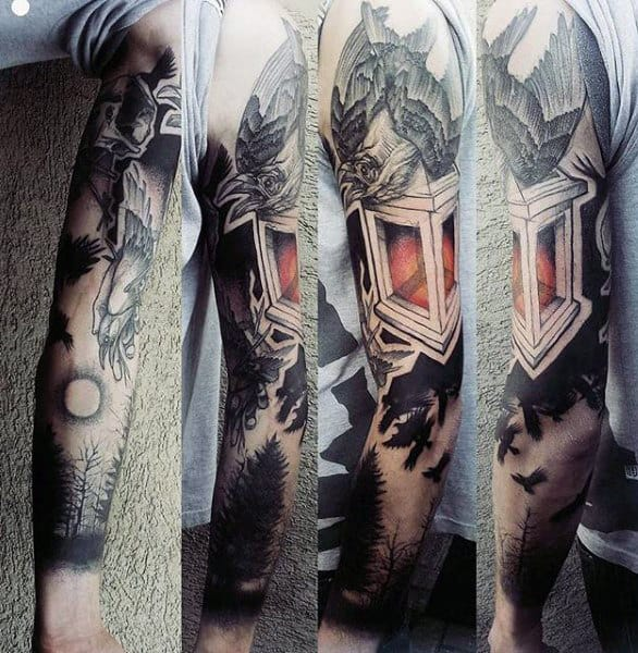 Brilliant Tattoo Of Raven Tattoo Guys Full Sleeves