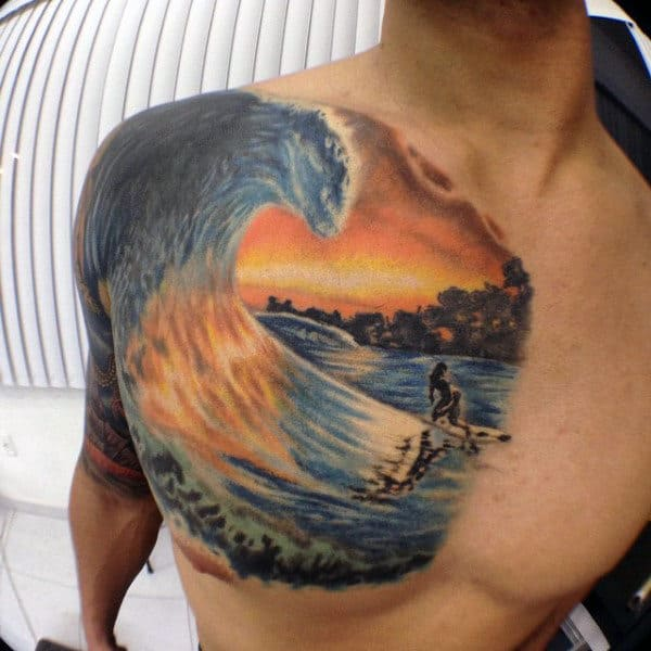Brilliant Water And Surf Tattoo Mens Chest