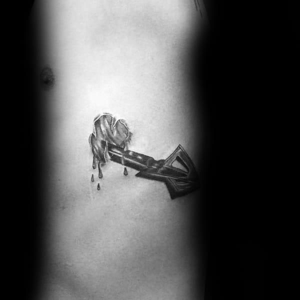 Broadhead Bowhunting Arrow Mens Rib Cage Tattoos