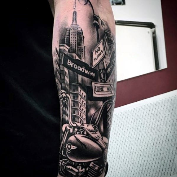 70 city skyline tattoo designs for men downtown ink ideas for Street sign tattoos
