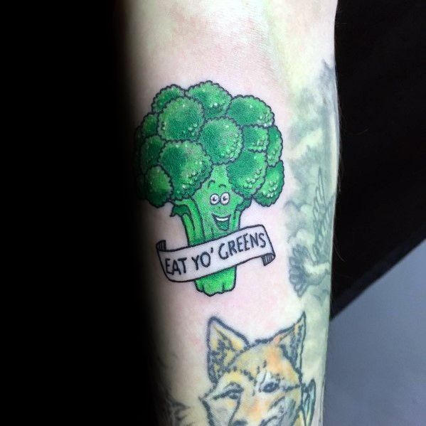 Broccoli Themed Tattoo Ideas With Eat Your Greens Banner
