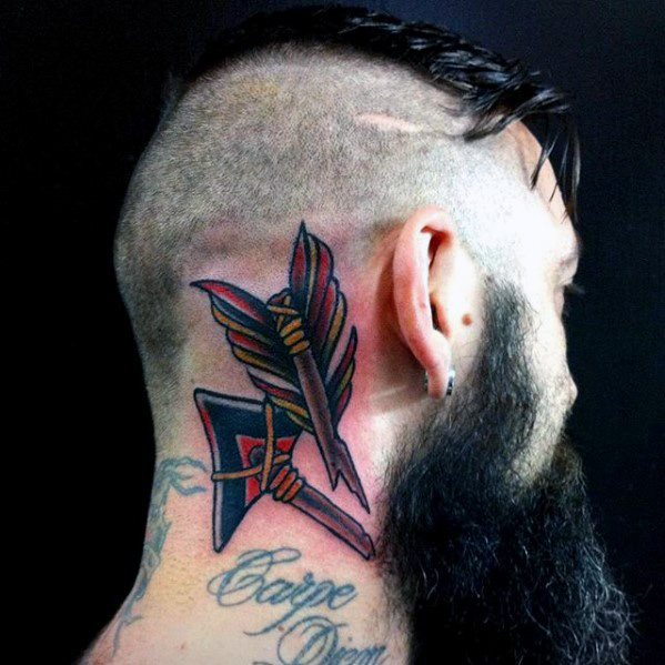 Broken Arrow Mens Neck Tattoo Designs