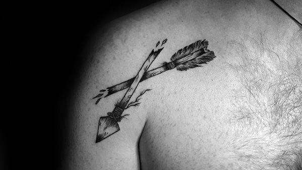 Broken Arrow Shoulder Guys Tattoo Ideas