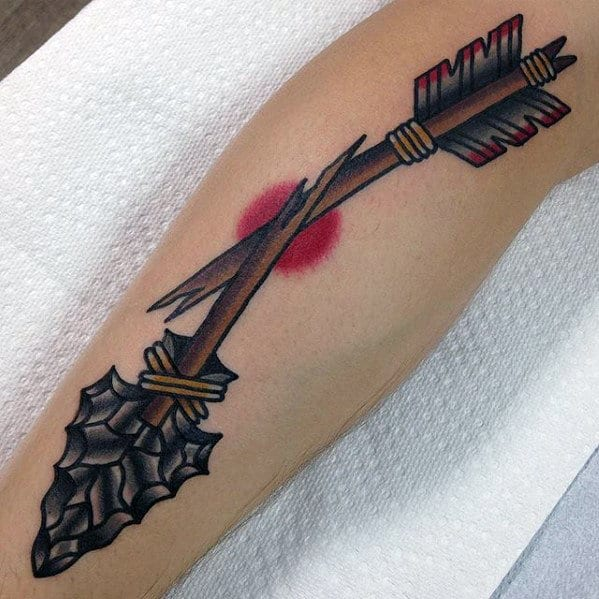 Broken Arrow Traditional Guys Arm Tattoo With Retro Design