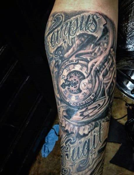 Broken Clock Tattoo For Men